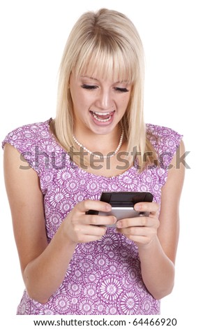 a woman showing her personality by texting something funny.