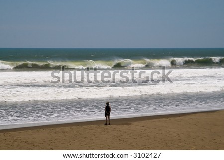 A woman standing on the beach watching large waves