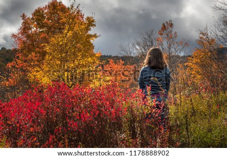 A woman stands in a open meadow at Graveyard Fields to admire the fall foliage.