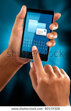 A woman use a mobile phone to check a mail
