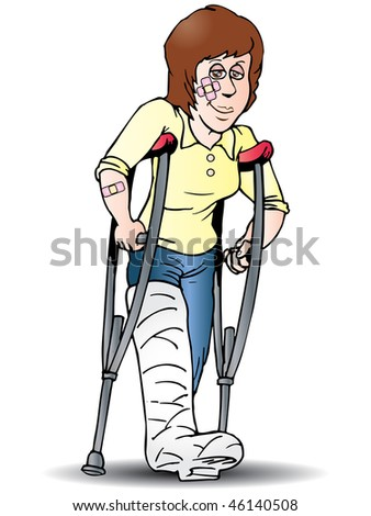 a woman using crutch got injury because of an accident