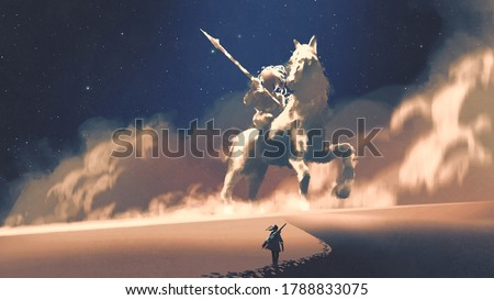 a woman walking on a desert to the giant horseman-shaped storm, digital art style, illustration painting