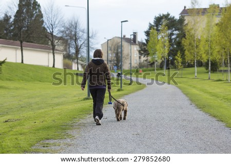 A woman walking the dog in the park in the summer.