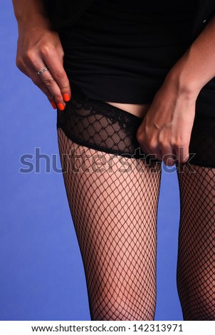 A woman wears stockings