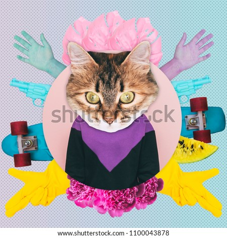 A woman with a cat head on the background of hands, guns and skateboard.  Contemporary art collage. Concept of memphis style posters. Abstract surrealism and minimalism