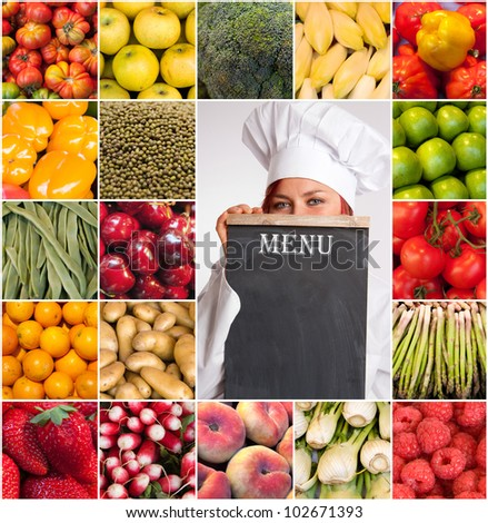 A woman with a chefs attire holding a menu surrounded by images of fruits and vegetables