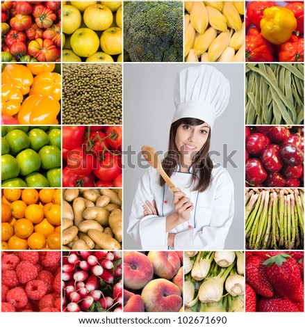 A woman with a chefs attire surrounded by images of fruits and vegetables