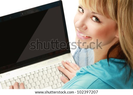 A woman with a laptop sitting on the floor, top view, isolated on white - stock photo