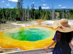 A woman with a summer hat viewing the Morning Glory Pool in Yellowstone National Park in Wyoming, USA