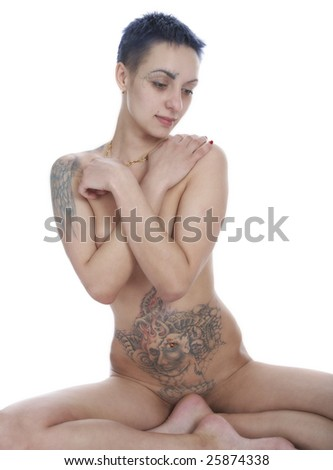stock photo : A woman with a tattooed body.