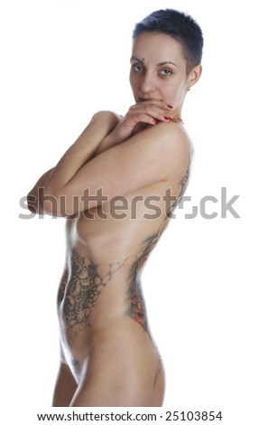 tattooed body. stock photo : A woman with a tattooed body, with a big tattoo