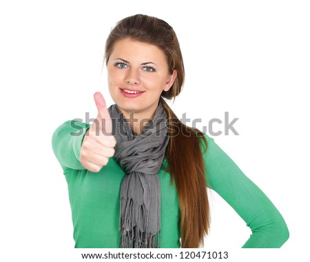 A woman with a thumbs up sign, isolated on white background - stock photo