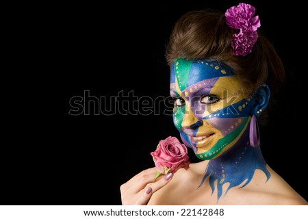 body painting poses on a black background. Mardi Gras color theme