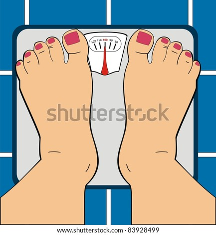 A Women Standing on Bathroom Scale - Scale Indicator Shows 100 KG - Her Toe Nails ar Painted By Manicure - Useful For Diet Use, Overwieght, Fitness & GYM - Low Section of Human