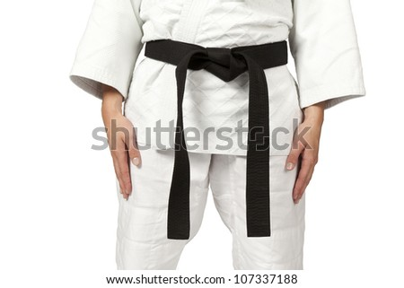 a women wearing a black belt isolated on white