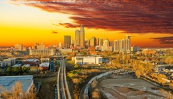 A wonderful sunrise overlooking the city skyline of Charlotte North Carolina