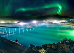 A wonderful vacation at Blue Lagoon in Iceland with Northern Lights.
