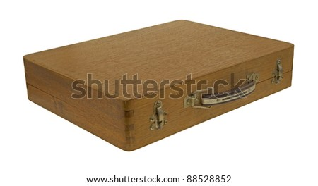 A wood artist box with handle and clasps on a white background.