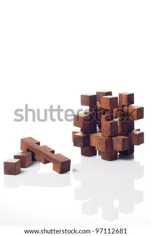 A wood made puzzle