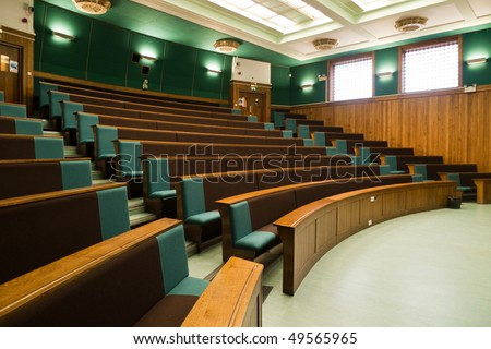 A Wood Panelled University Lecture Theatre/Conference Hall Stock ...
