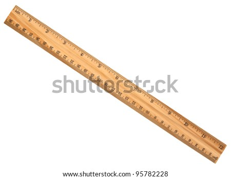 A wood ruler isolated over a white background