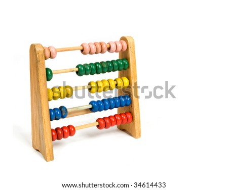 A wooden abacus isolated on a white background