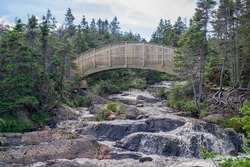 A wooden arch bridge with a rail over a fast flowing river. The footbridge spans a cascading waterfall with a blurred motion from the small river. The bridge is surrounded by tall green evergreens.