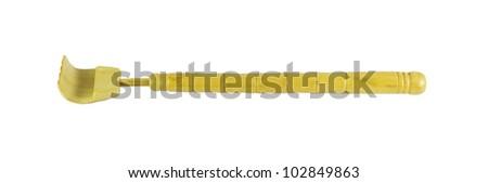 a wooden backscratcher on a white background.