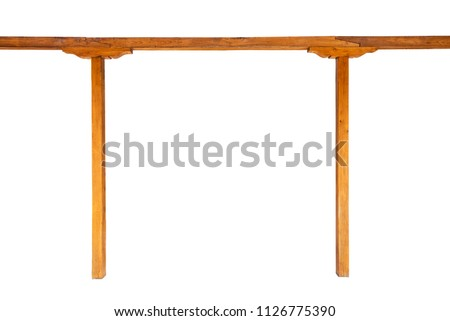 A wooden beam with two wooden columns isolated on white background