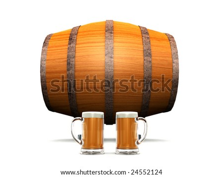 A wooden beer barrel in the background and two glasses filled with beer in front of it.