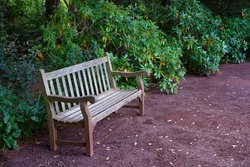 A wooden bench on a gravel path in a garden
