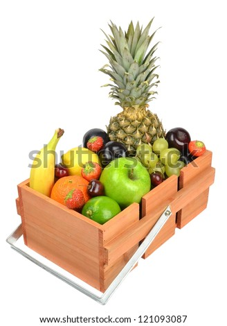 A wooden box crate of fresh fruit on white background