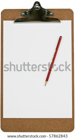 A wooden clipboard holding a blank piece of paper and a sharp pencil. Isolated over white with clipping path.