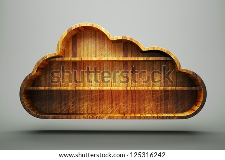 a wooden cloud, cloud computing concept