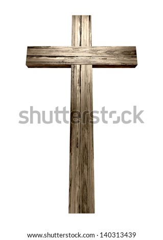 A wooden cross on an isolated background