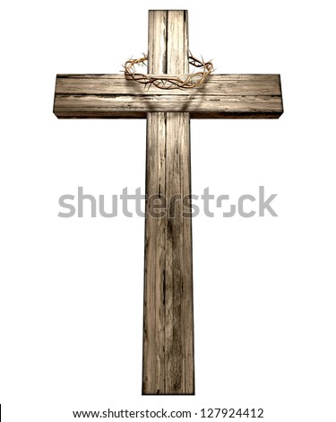 A wooden cross that has a christian woven crown of thorns on it depicting the crucifixion on an isolated background