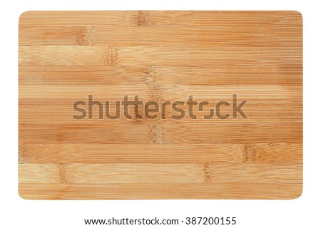 a wooden cutting board on a white background #387200155