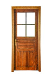 A wooden door with glass openings isolated on white background