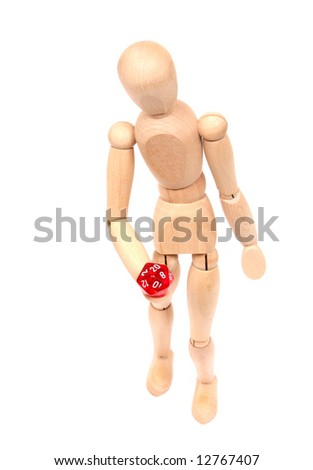 A wooden figurine (or woodie) holding a twenty sided die in its hand.