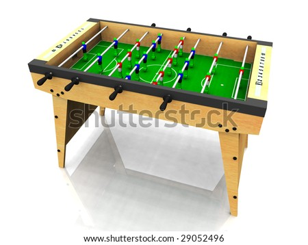 A wooden foosball table on white background.