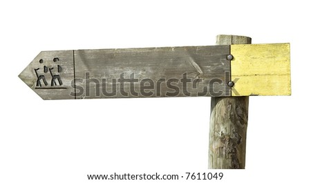 A wooden footpath sign isolated on white