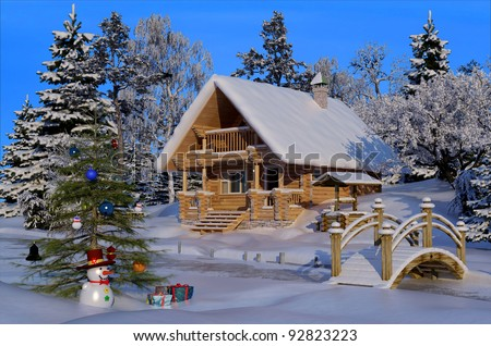 A wooden house near the woods, winter.