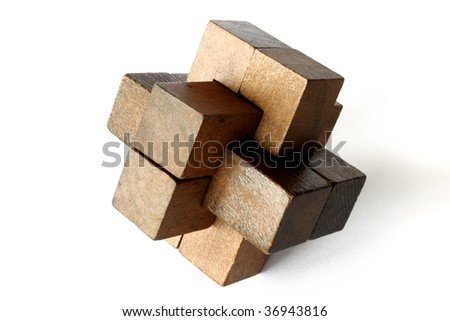 A wooden puzzle on an white background