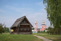 A wooden Russian hut, the traditional home of a Russian peasan. Suzdal, Russia