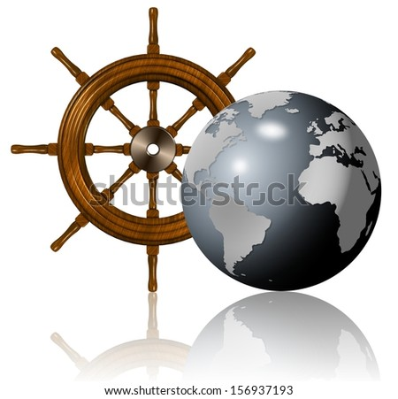 A wooden ship wheel and Earth globe in front of it / Sailing around the world