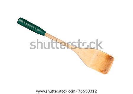 A wooden spatula with green vinyl handle isolated on white