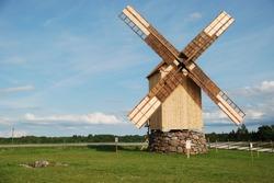 A wooden windmill in Angla, Saaremaa island, Estonia