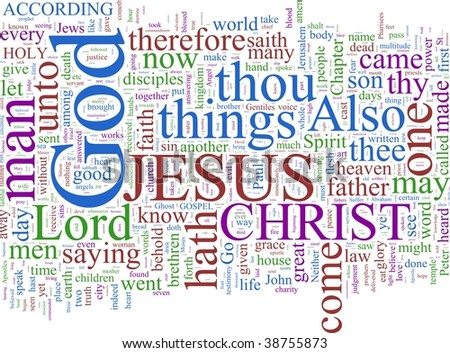 A word cloud based on the New Testament