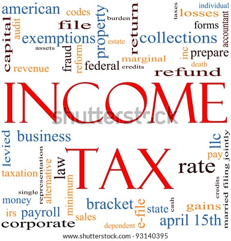 A word cloud concept around the words Income Tax with great terms such as April, refund, rate, bracket, file, prepare and more