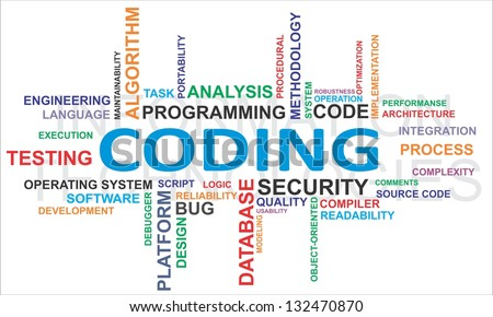 A word cloud of coding related items - stock photo